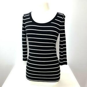 Cynthia Rowley Black/White  Strip Top Size Medium